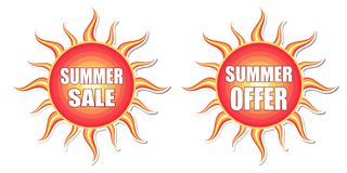 Summer sale and summer offer in sun labels Royalty Free Stock Photo