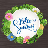 Summer sale, summertime lettering. Tropical palm leaves and flowers background Royalty Free Stock Photography