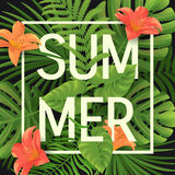 Summer sale, summertime lettering. Tropical palm leaves and flowers background Stock Photo
