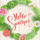 Summer sale, summertime lettering. Tropical palm leaves and flowers background Stock Photos