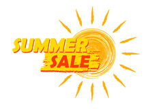 Summer sale with sun sign, yellow and orange drawn label Stock Image