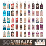 Summer sale tags. Collection of 50 Summer Sales Related Hang Tags + 5 Vintage Textures Royalty Free Stock Photo