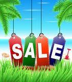 Summer Sale Tags Hanging in Tropical Background Royalty Free Stock Photos
