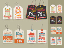 Summer Sale tags or labels collection. Collection of vintage tags or labels for Big Summer Sale with special discount offers Royalty Free Stock Photo