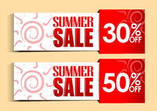 Summer Sale Tags and Signs with Sun and Patterns. For Summer Promotions Stock Images