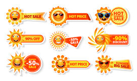 Summer Sale Tags. With smiley sun and hot price with big discount labels isolated  vector illustration Stock Photo