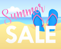 Summer sale tamplate design banner. Illustration with flip flops and beach. Vector background Royalty Free Stock Images