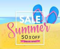 Summer sale tamplate design banner. Illustration with flip flops and beach. Vector background Royalty Free Stock Photos