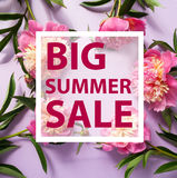 Summer sale template banner. Summer sale background with flowers. Banner, flyer, invitation, posters, brochure voucher discount Advertising royalty free stock photography