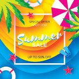 Summer Sale Template banner. Beach rest. Summer vacantion. Top view on colorful beach elements. Square frame with space Royalty Free Stock Images