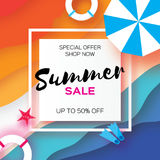 Summer Sale Template banner. Beach rest. Summer vacantion. Top view on colorful beach elements. Square frame with space Royalty Free Stock Photography