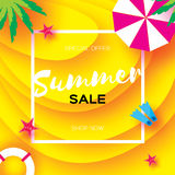 Summer Sale Template banner. Beach rest. Summer vacantion. Top view on colorful beach elements. Square frame with space Royalty Free Stock Photos