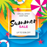 Summer Sale Template banner. Beach rest. Summer vacantion. Top view on colorful beach elements. Square frame with space Stock Photo