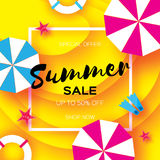 Summer Sale Template banner. Beach rest. Summer vacantion. Top view on colorful beach elements. Square frame with space Stock Photos