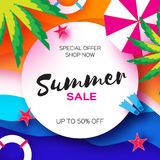 Summer Sale Template banner. Beach rest. Summer vacantion. Top view on colorful beach elements. Square frame with space Stock Images