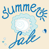 Summer-sale. Template summer sale banner. Blue and beige background. Vector Stock Images