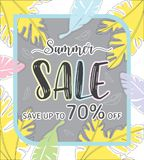 Summer sale template banner, Special offer at discount up to 70% off. Vector illustration design. EPS10 Royalty Free Stock Photo