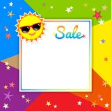 Summer sale template banner, vector illustration in colorful the Royalty Free Stock Images