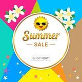 Summer sale template banner, vector illustration in colorful the Stock Photography