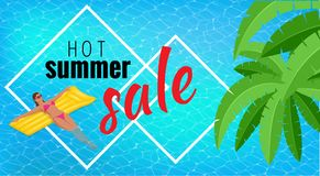 Summer sale template banner. Vector illustration with spesial discount offer. Slim young woman in bikini holding yellow. Air mattress in the big swimming pool stock illustration