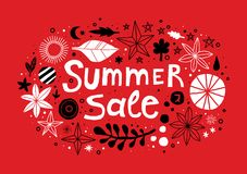 Summer sale template with flowers and abstract hand drawn elements. Can be used for advertising, graphic design. Summer sale template with flowers and abstract Royalty Free Stock Photo