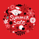 Summer sale template with flowers and abstract hand drawn elements. Can be used for advertising, graphic design. Summer sale template with flowers and abstract Stock Image