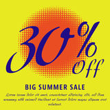 Summer sale template. 30 percent Off - big summer sale template. Colorful promotional banner or poster design. Vector Illustration Royalty Free Stock Photography