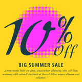 Summer sale template. 10 percent Off - big summer sale template. Colorful promotional banner or poster design. Vector Illustration Royalty Free Stock Photo