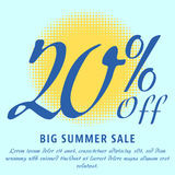Summer sale template. 20 percent Off - big summer sale template. Colorful promotional banner or poster design. Vector Illustration Stock Image