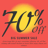 Summer sale template. 70 percent Off - big summer sale template. Colorful promotional banner or poster design. Vector Illustration Stock Photo