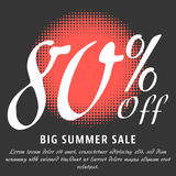 Summer sale template. 80 percent Off - big summer sale template. Colorful promotional banner or poster design. Vector Illustration Stock Photos
