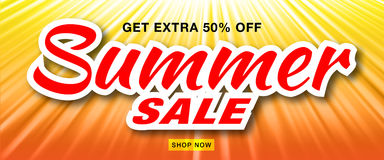 Summer sale template vector banner with sun rays. Glow horizontal sunlight orange background. Royalty Free Stock Image