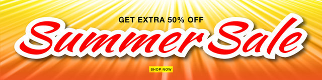 Summer sale template vector banner with sun rays. Glow horizontal sunlight orange background. Stock Photo