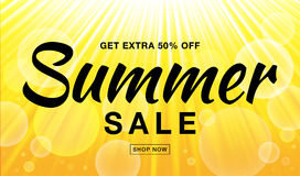 Summer sale template vector banner with sun rays. Glow horizontal sunlight yellow background. Sunshine glare heat with flash rays and bubbles backdrop Royalty Free Stock Image