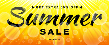 Summer sale template vector banner with sun rays. Glow horizontal sunlight yellow background. Sunshine glare heat with flash rays and bubbles backdrop Stock Photos
