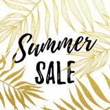 Summer Sale text with gold palm leaves pattern on white background Stock Photography