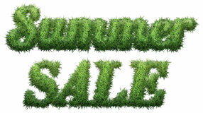 Summer Sale text made of grass. Isolated on a black background. 3D illustration Royalty Free Illustration