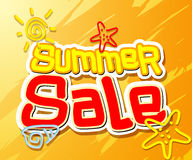 Summer Sale Text Title with Hand Drawing Vector Elements Royalty Free Stock Image