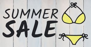 Summer sale text and yellow bikini graphic against white wood panel. Digital composite of Summer sale text and yellow bikini graphic against white wood panel Royalty Free Stock Photos
