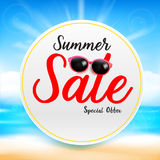 Summer sale titile text on white circle frame Abstract blur sand Stock Photography