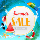 Summer sale titile on white circle over Abstract background top Royalty Free Stock Image