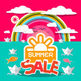 Summer Sale Title with Paper Boats Royalty Free Stock Images