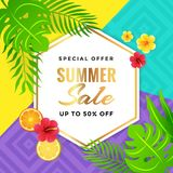 Summer Sale with Tribal Background. Design with Tropical Fruit, Floral and Leaves stock illustration