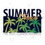 Summer Sale tropical banner with palms and sunset. Summer placard poster flyer invitation card. Summer time. Vector Illustration. Stock Photography