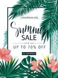 Summer sale. Tropical banner, poster with beautiful flowers, plants and leaves . Vector illustration. Royalty Free Stock Image