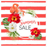 Summer Sale Tropical Flowers Banner, for Discount Poster, Fashion Sale, backgrounds, tshirts, pillows, in. Beautiful summer,spring, floral backgrounds Stock Photos