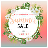 Summer Sale Tropical Flowers Banner, for Discount Poster, Fashion Sale, backgrounds, tshirts, pillows, in vector. Beautiful summer,spring, floral backgrounds Stock Image