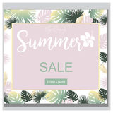 Summer Sale Tropical Flowers Banner, for Discount Poster, Fashion Sale, backgrounds, tshirts, pillows, in vector. Beautiful summer,spring, floral backgrounds Royalty Free Illustration