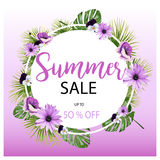 Summer Sale Tropical Flowers Banner, For Discount Poster, Fashion Sale, Backgrounds, Tshirts, Pillows, In Vector Stock Photos