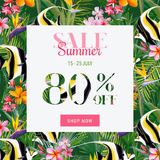 Summer Sale Tropical Flowers and Exotic Fish Banner, for Discount Poster, Fashion Sale, Market Offer. In vector Royalty Free Stock Images